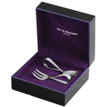 BOX15   Baby's First Spoon and Fork Set Sterling Silver Ari D Norman
