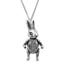 PT512   Moving Rabbit Pendant on Chain Sterling Silver Ari D Norman