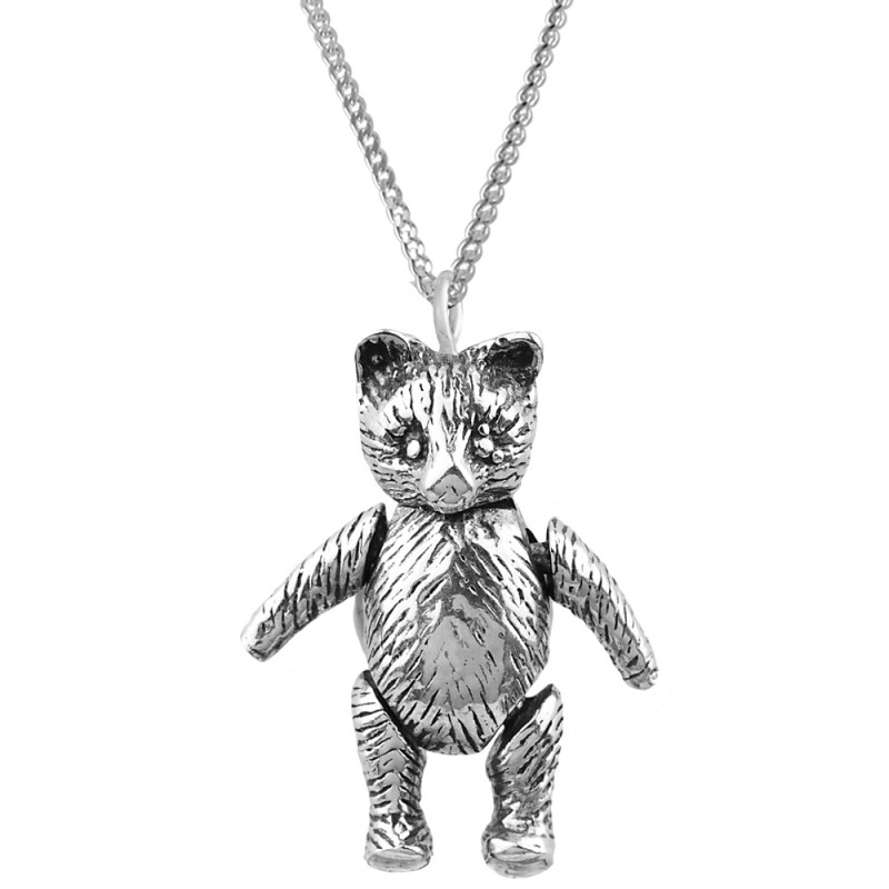 Pt513 moving teddy bear pendant on chain sterling silver ari d pt513 moving teddy bear pendant on chain sterling silver ari d norman aloadofball Images