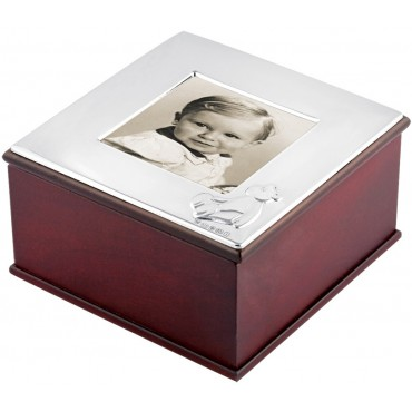 GT53   Mahogany Finish Keepsake Box Sterling Silver Ari D Norman