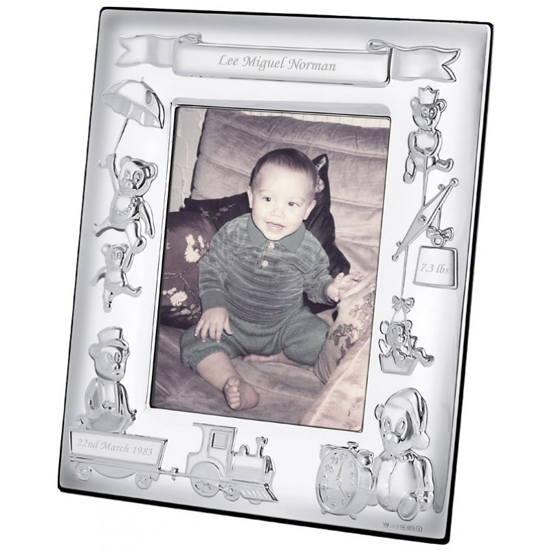fr160 baby photo frame with mahogany finish back 8cm x 10cm sterling silver ari d norman