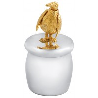 GT2244   Tooth Fairy Box with Gold Plated Moving Penguin Sterling Silver Ari D Norman