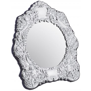 MIR409   Embossed Victorian Table Mirror with Velvet Back Mirror Sterling Silver Ari D Norman