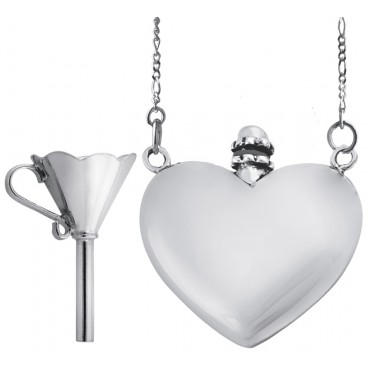 PT412   Heart Perfume Bottle on Chain and Funnel Set Sterling Silver Ari D Norman