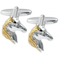 CU492 Ari D Norman Sterling Silver and Gold Plated Horse Head Cufflinks