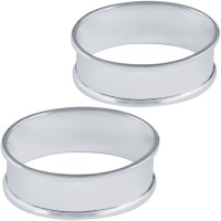 BOX10   Plain Oval Napkin Ring Set Sterling Silver Ari D Norman