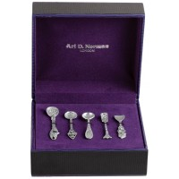 BOX103   Five Piece Victorian Salt / Mustard Spoon Set Sterling Silver Ari D Norman