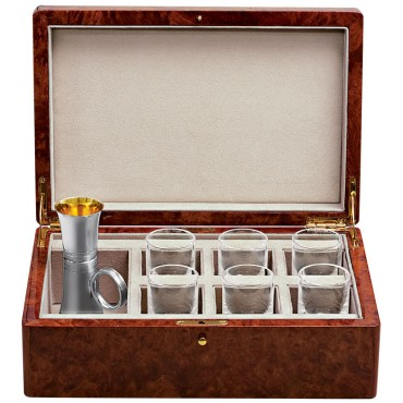 GT2081 - VIP Drinks Set Housed in a Burr Wood Cabinet Sterling Silver Ari D Norman