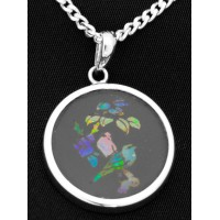"PT800 Vintage Pietra Dura Bird Mosaic Opal Pendant on 18"" Sterling Silver Chain Opal Inlay On Black Onyx"