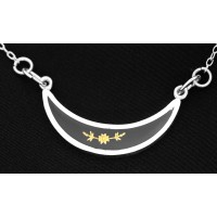 PT802 Vintage Sterling Silver Crescent Shaped Necklet With Real 24 Carat Gold Leaf Flower Set In Black Acrylic