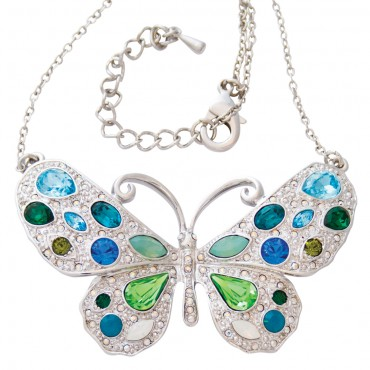 ADC2   Rhodium Plated Butterfly Necklace with Austrian Crystals Jewelari of London