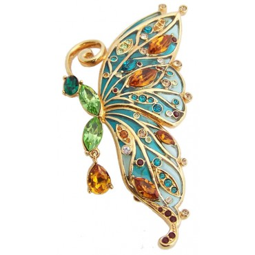 JB1 Gold plated butterfly brooch pin in blue enamel with green and orange Austrian crystals