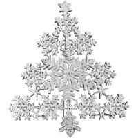JB127   Rhodium Plated Snowflake Christmas Tree Brooch With Austrian Crystals Jewelari of London