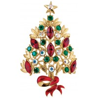 JB14   Gold Plated Crystal Christmas Tree Brooch Jewelari of London