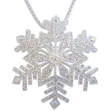 JB48   Crystal Snowflake Brooch / Pendant Jewelari of London