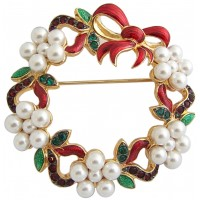JB77   Gold Plated Christmas Wreath Brooch Jewelari of London