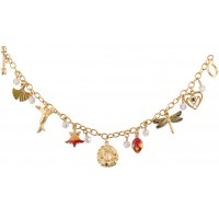 JBT8   Gold Plated Metal Alloy Art Nouveau Style Charm Bracelet Jewelari of London