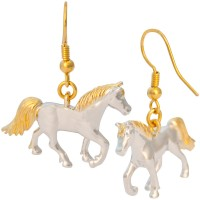 JEA35   Gold and Rhodium Plated Horse Earrings Jewelari of London