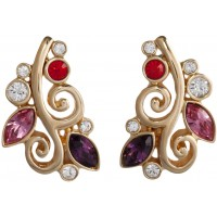 JEA37   Gold Plated Floral Earrings Jewelari of London