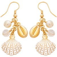 JEA41   Gold Plated Seashell Earrings Jewelari of London