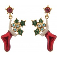 JEA5   Gold Plated Christmas Stocking Earrings Jewelari of London