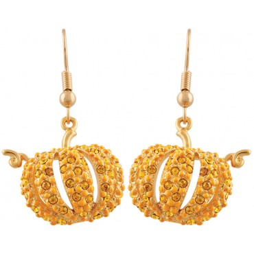 JEA7   Gold Plated Pumpkin Earrings Jewelari of London