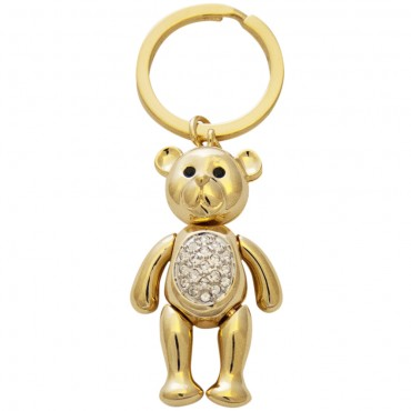JK10   Gold Plated Teddy Bear Keyring Jewelari of London