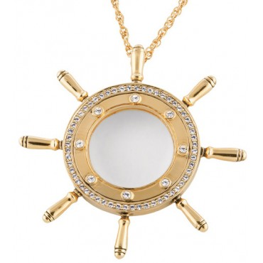 JNK16   Gold Plated Ships Wheel Magnifying Glass Pendant and Chain Jewelari of London
