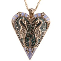JNK23   Gold Plated Art Nouveau Heron Pendant on Chain Jewelari of London
