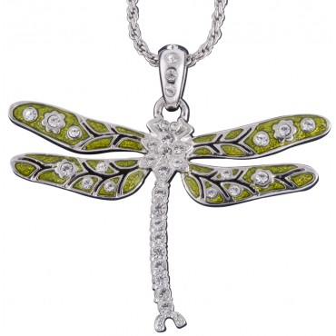 JNK29   Rhodium Plated Metal Alloy and Austrian Crystal Dragonfly Pendant on Chain Jewelari of London