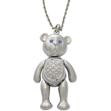 JNK58   Rhodium Plated Teddy Bear Necklace Jewelari of London