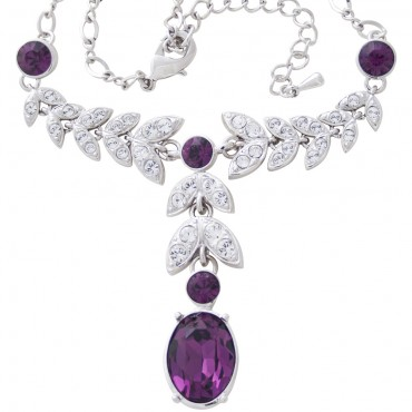 TC2   Rhodium Plated Crystal Set Necklace Jewelari of London
