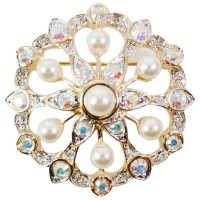 VC6 - Pearl and Crystal Starburst Brooch