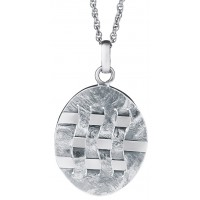 PT493 - Sterling silver woven hatch design pendant on chain