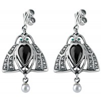 EA289   Art Nouveau Scarab Earrings Sterling Silver Ari D Norman