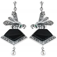 EA290   Onyx Art Nouveau Bee Earrings Sterling Silver Ari D Norman