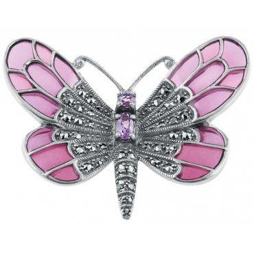 B219   Amethyst and Marcasite Set Butterfly Brooch Sterling Silver Ari D Norman