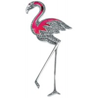 B224   Pink Flamingo Brooch Sterling Silver Ari D Norman