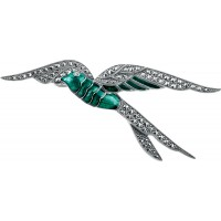 B389   Marcasite Swallow Brooch Sterling Silver Ari D Norman