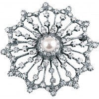 B638 - Sterling silver crystal and pearl starburst brooch