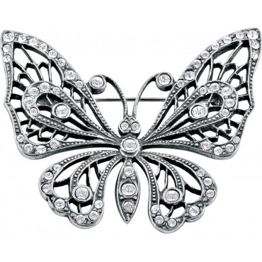 B639   Crystal Butterfly Brooch Sterling Silver Ari D Norman
