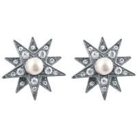 EA212   Crystal and Pearl Star Earrings Sterling Silver Ari D Norman
