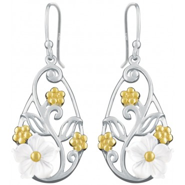 EA616 - Sterling silver and gold plated floral earrings