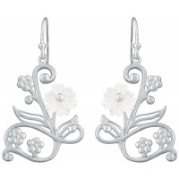 EA617   Mother of Pearl Floral Earrings Sterling Silver Ari D Norman