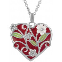 NK574   Red and Green Enamel Pendant on Chain Sterling Silver Ari D Norman