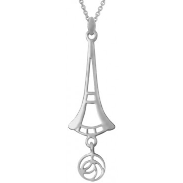 NK581   Mackintosh Style Pendant and Chain Sterling Silver Ari D Norman