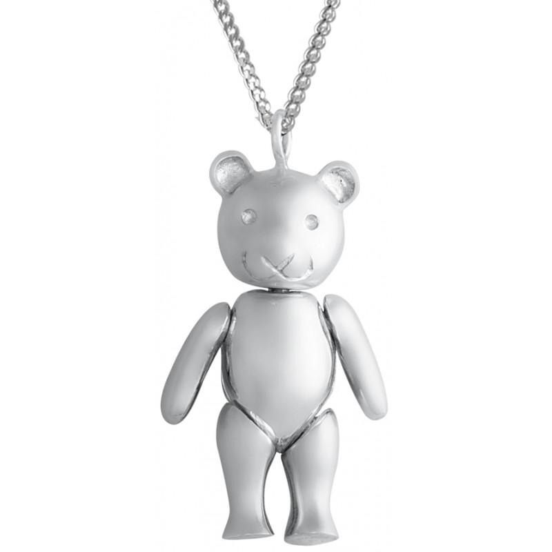 Pt433 sterling silver moving teddy bear pendant on chain ari d pt433 sterling silver moving teddy bear pendant on chain aloadofball Images
