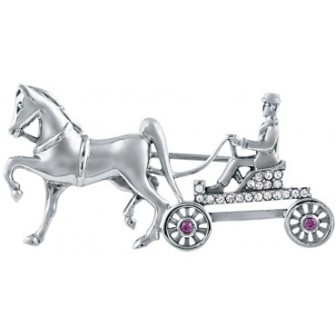 B623   Crystal Horse and Carriage Brooch Sterling Silver Ari D Norman