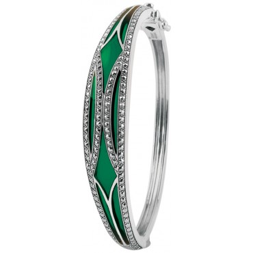 BE417   Green Enamel and Marcasite Bangle Sterling Silver Ari D Norman