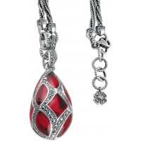 NK503   Red Enamel and Marcasite Teardrop Pendant on Chain Sterling Silver Ari D Norman